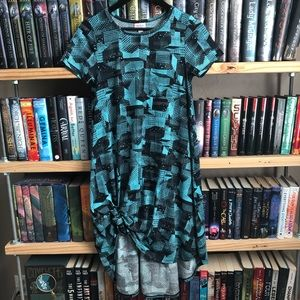 LuLaRoe Blue & Black Geometric Print Carly Dress